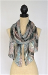 Silk Concepts Chiffon with Leaves Scarf Mulled Wine S-CS-MW-1807